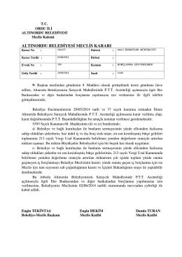ALTINORDU BELEDİYESİ MECLİS KARARI