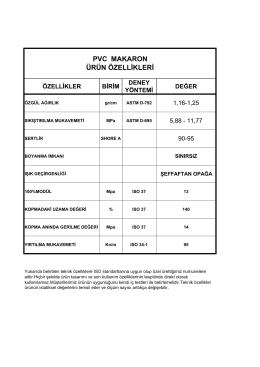 PVC MAKARON TEKNİK ÖZELLİKLERİ