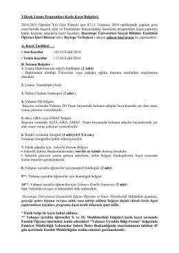Yüksek Lisans Programları Kesin Kayıt Belgeleri