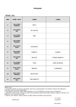 2014-2015 ı. dönem ıı. ortak sınav programı