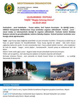 """ULUSLARARASI FESTIVALİ TAŞÖZ """"Magija Zelenog Ostrva"""""""