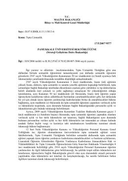 Yandal Uzmanlığına Ait Fark Ödemesi Hk.