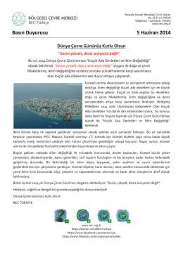 Basın Duyurusu 5 Haziran 2014 Dünya Çevre