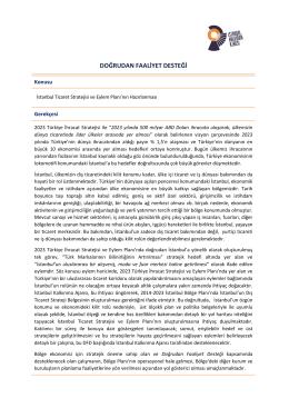 İstanbul Ticaret Stratejisi ve Eylem Planının Hazırlanması