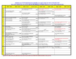2014–2015 öğretim yılı güz dönemi birinci öğretim