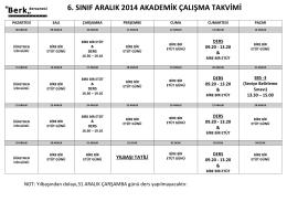 6. sınıf aralık 2014 akademik çalışma takvimi