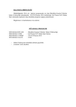 HALTER İL BİRİNCİLİĞİ Müdürlüğümüz 2014 yılı faaliyet