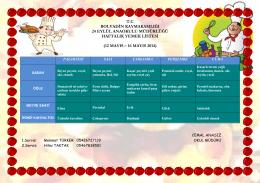 12 Mayıs - 16 Mayıs 2014 Haftalık Yemek Listesi