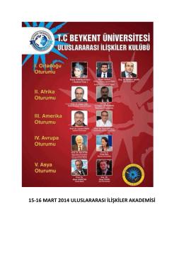 15-16 mart 2014 uluslararası ilişkiler akademisi