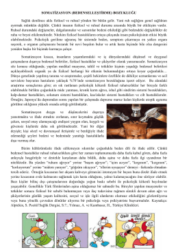 SOMATİZASYON (BEDENSELLEŞTİRME) BOZUKLUĞU Sağlık