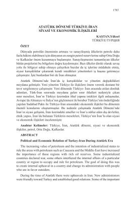 atatürk dönemi türkiye-iran siyasi ve ekonomik ilişkileri