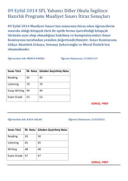 09 Eylül 2014 SFL Yabancı Diller Okulu İngilizce Hazırlık Programı
