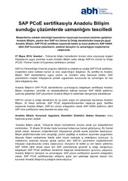 Anadolu Bilişim SAP PCoE Sertifikasını Yeniledi