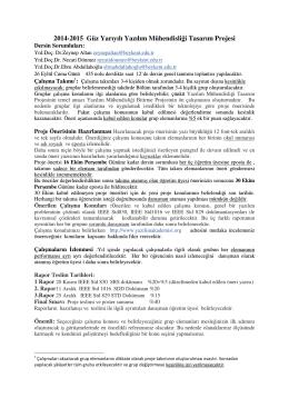 2014-2015 Güz Yarıyılı Yazılım Mühendisliği Tasarım Projesi