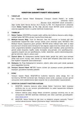 netsis versiyon garanti paketi sözleşmesi - Ege