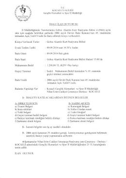 i V î - Kocaeli Gençlik Hizmetleri ve Spor İl Müdürlüğü