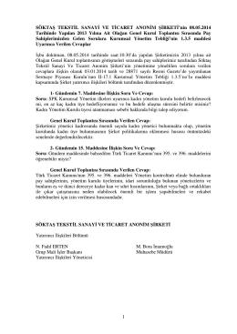 2013 yılı Olağan Genel Kurul Soru ve Cevaplar