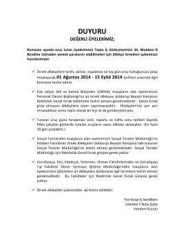 DUYURU - Tez-Koop