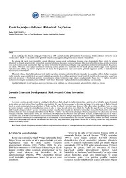 Çocuk Suçluluğu ve Gelişimsel (Risk-odaklı)