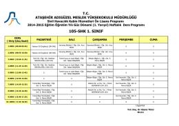 105-SHK 1. SINIF - Ataşehir Adıgüzel Meslek Yüksekokulu