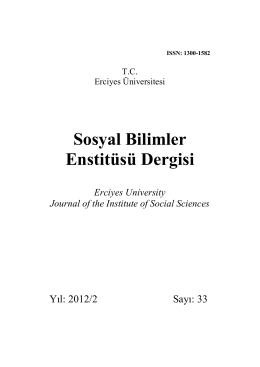Sosyal Bilimler Enstitüsü Dergisi