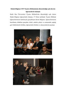 Haluk Bilginer STF Tiyatro Bölümünün düzenlediği açık derste