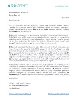 Sayın Rasim Ozan Kütahyalı Sabah Gazetesi 02.12