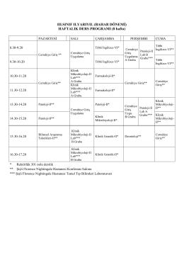 III. Sınıf Haftalık Ders Programı