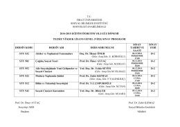 2014-2015 Güz Yarıyılı Tezsiz Yüksek Lisans Vize Programı