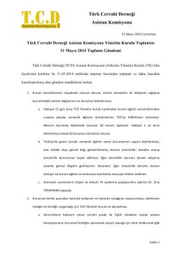 31.05.2014 tarihli Yönetim Kurulu kararları.