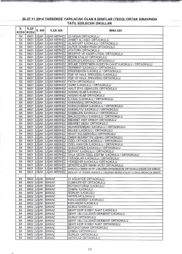 26-27 Kasım 2014 1. Dönem Ortak Sınavlarında Tatil Edilecek Okullar