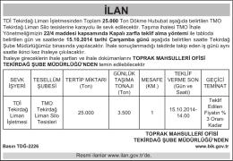 TDİ Tekirdağ Liman İşletmesinden Toplam 25.000