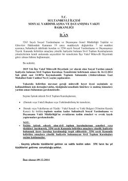 Sultanbeyli Sosyal Yardımlaşma ve Dayanışma Vakfı Başkanlığı