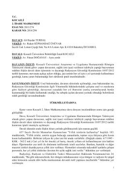 T.C. KOCAELİ 2. İDARE MAHKEMESİ ESAS NO: 2013/274 KARAR