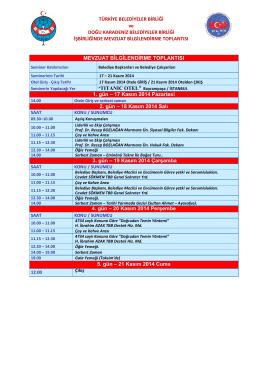Program 17-21 Kasım 2014 İstanbul
