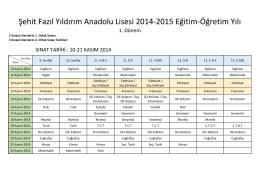 2014-2015 Sınav Tarihleri