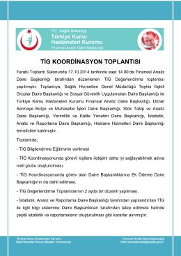 TİG KOORDİNASYON TOPLANTISI - Türkiye Kamu Hastaneleri