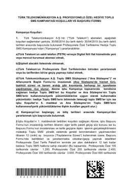 TÜRK TELEKOMÜNİKASYON A.Ş. PROFESYONELE ÖZEL