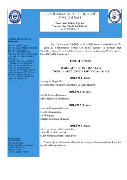12-13 Şubat 2014 Temel Afet Bilinci Eğitimi
