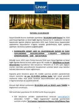 DUYURU: 13.10.2014/20 Sosyal Güvenlik Kurumu tarafından