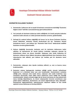 dozimetre kullanım talimatı - Hacettepe Üniversitesi Nükleer Bilimler