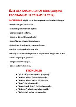 haftalık çalışma programımız 01.12.2014
