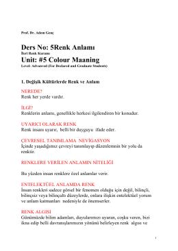Ders No: 5Renk Anlamı Unit: #5 Colour Maaning