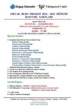 DOGUS-TPV 2014-2015 burs basvuru ilan