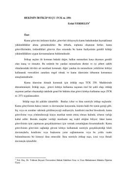 HEKİMİN İRTİKÂP SUÇU (TCK m. 250) Erdal YERDELEN1 Özet