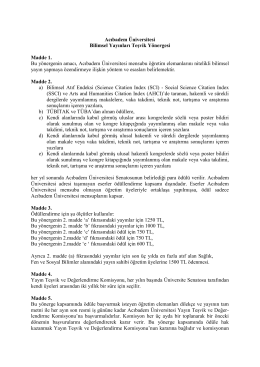 Acıbadem Üniversitesi Bilimsel Yayınları Teşvik Yönergesi Madde 1