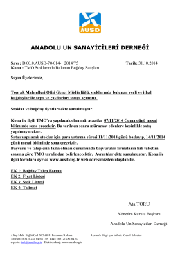 TMO BUĞDAY SATIŞLARI - Anadolu Un Sanayicileri Derneği
