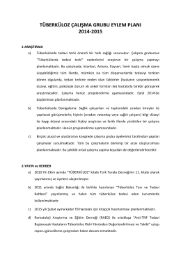 Tüberküloz Çalışma Grubu 2014-2015 Eylem Planı