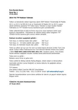 İcra Kurulu Kararı 2014 Yılı TYF Reklam Talimatı Yelken ve