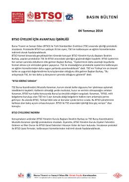 04.07.2014 TSE İşbirliği - Bursa Ticaret ve Sanayi Odası